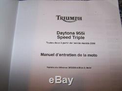 1J Manuel d'atelier Entretien TRIUMPH DAYTONA 955i Speed triple 2002 2003