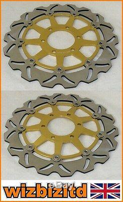 Pair Gold Wavy Discs Triumph Daytona 955i (Single swingarm) Year 1998-00 WDF934