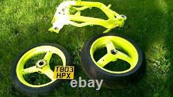TRIUMPH 955i Daytona Frame and Wheels Powder Coated in Day Glow Yellow with V5