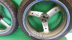 TRIUMPH PAIR WHEELS & TYRES 3 SPOKE SILVER 955i DAYTONA SPEED TRIPLE SPRINT